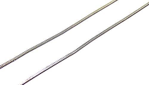 Collana Oro Bianco 18kt (750) Catenina Girocollo Collier Maglia Coda di Topo Quadra Donna Ragazza