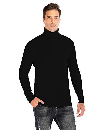 AIMEIYI Mens Long Sleeve Turtleneck/V-Neck/Crewneck Pullover Sweaters (Black, X-Large)