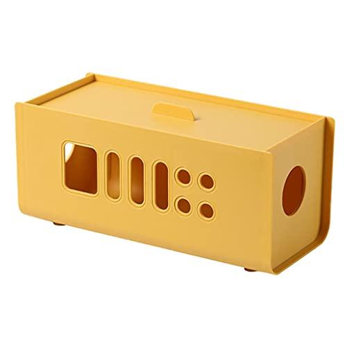 FLAMEER Caja de administración de Cables Caja organizadora de Cables Caja de protección de Cables Protector contra sobretensiones para Cubrir Cables para - Amarillo
