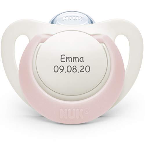 NUK Genius Schnuller mit personalisierter Gravur, Silikon, kiefergerecht, BPA-frei (rosa, Silikon, 0-6 Monate)