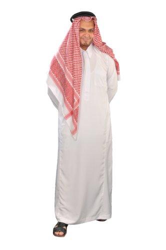 Egypt Bazar Dreiteiliges Araber Scheich Kostüm Scheichkostüm, Karnevalskostüm - Faschingskostüm, Weiss (XL)