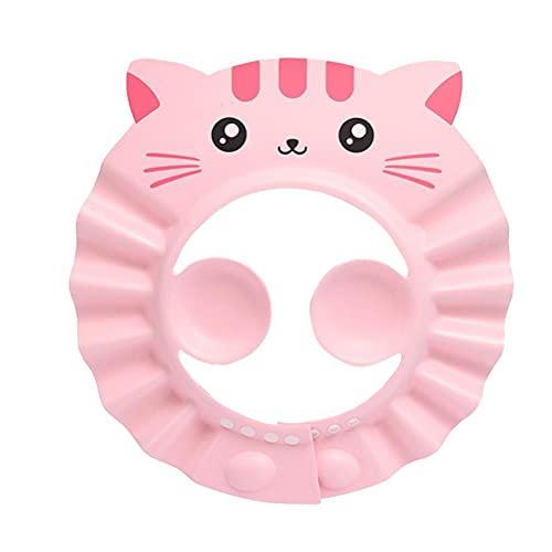 Yeeyf Gorro de ducha para niños, gorro de ducha de champú, gorra de champú para bebé, gorra ajustable con protección de oídos para niños niños para niños pequeños (rosa)