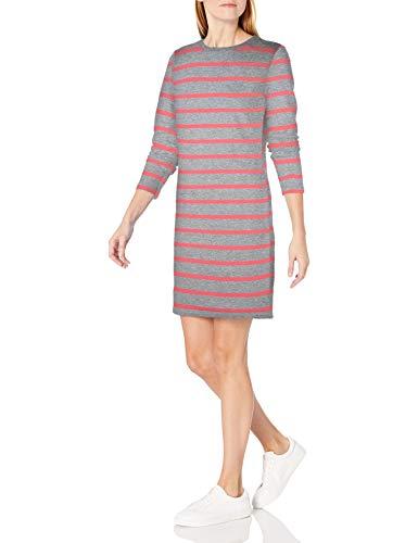 Amazon Essentials Damen Kleid, Mehrfarbig (Light Grey Heather/Coral Stripe) , Large