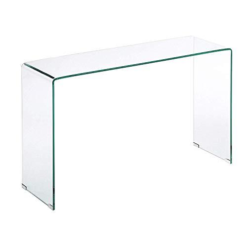 Consolle Tavolo da salotto in Vetro Temperato, Tavolo Luxury Z-03, Design curvo e moderno, 126 x 70 x 40 cm, Vetro temperato trasparente