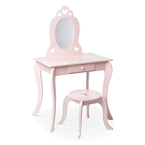 Milliard Kids Vanity Set with Mirror and Stool, Beauty Makeup Vanity Table and Chair Set for Toddlers and Kids, Pink