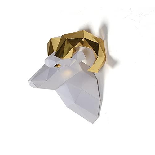 Escultura de papel cabeza de carnero,Kit de papelería precortado,Figura de animal ancha hecha a mano,Multi Color,Decoración de pared en bajo poliéster,Todos los accesorios incluidos
