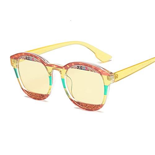 DNAMAZ Gafas de Sol Redondas Mujeres de Lujo Sombras Femeninas Europa Popular Gafas de Sol Señora (Lenses Color : Red Yellow)