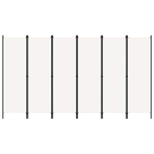 Tidyard Paravento a 6 Pannelli Bianco 300x180 cm,Separé per Interni, Divisorio per Stanze, 6 Ante