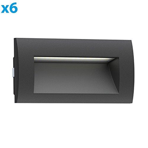 ledscom.de LED Downunder Zibal, wetterfest, schwarz, warm-weiß, 140x70mm, 6 STK.