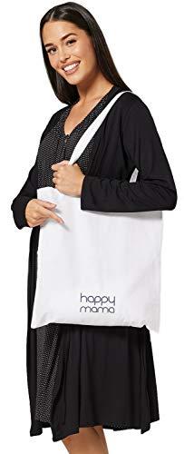 HAPPY MAMA Para Mujer Set Camisón Bata de Premamá Embarazo Lactancia 1009 (Negro con Puntos Blancos Pequeño, 44-46, XL)