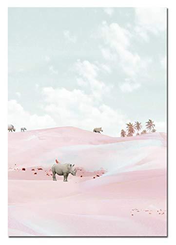 waitingposter behang landschap canvas schilderij meisje Nordic poster abstracte kunst wooncultuur minimalistisch canvas schilderij retro wandschilderijen voor slaapkamer 16x20inch(40x50cm) A