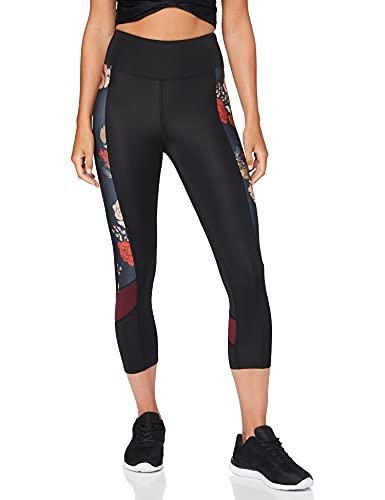 AURIQUE BAL1160 Sport Legging, Schwarz (Black/Floral Print), XL