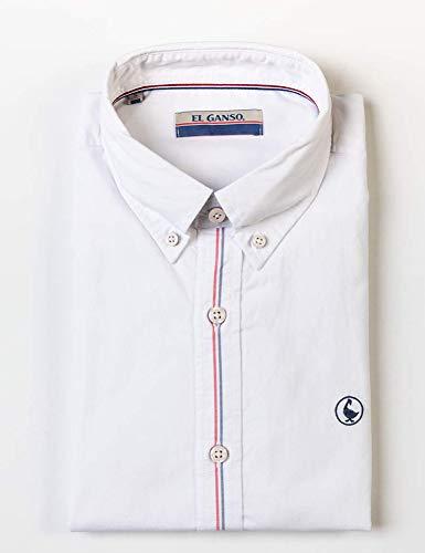 El Ganso Colección Casual Sporty, Camisa con Detalle de Bandera, para Hombre, Manga Larga, Cuello de Boble Botón, Talla L, Blanca