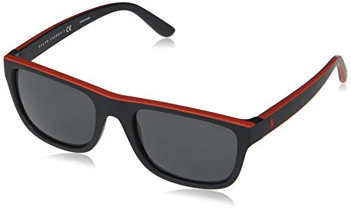 Ralph Lauren POLO 0PH4145 Gafas de Sol, Matte Black/Rubber Red, 56 para Hombre