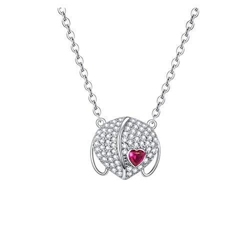 HMMJ Collar de Mujer, S925 Sterling Silver Simple Zircon Shield Colgante Cadena de clavícula