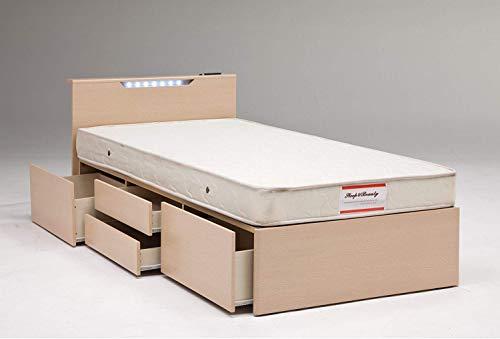 チェストベッド 収納ベッド シングル コンセント付き 照明付き シング/ナチュラル(NA)