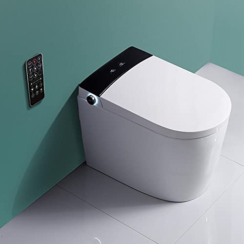 Wailiy Luxury Smart Bidet Seat Toilet 2021 New Series Elongated One Piece Smart Toilet w/Integrated Dual Flush with Remote Control|Soft Closing Seat|Quick Drying|Hot Type|Automatic Flushing (IWB078)