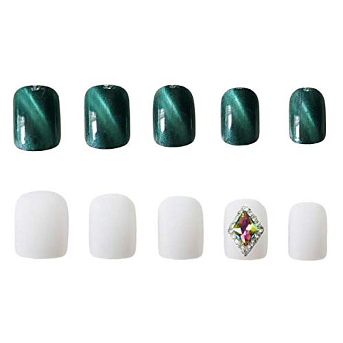 CLOAAE 24Pcs Full Cover Short square press on nails Green Cat Eye Gemstone Bride artificial nails Wearable Fake Nail with for girl