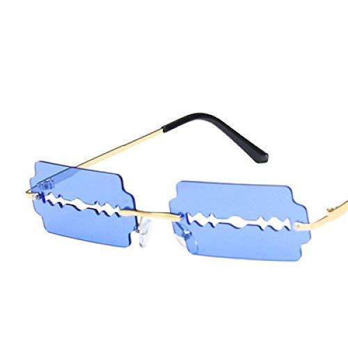 Sonnenbrille Kleine Rechteckige Randlose Sonnenbrille Frauen Mode Klingenform Vintage Hohle Brille Frauen Rasiermesser Dunkelblau