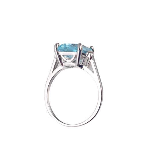 SUPVOX Anillo de mujer vintage con piedra aguamarina esmeralda azul aguamarina anillo para joyas de novia talla 6-10 (6) turquesa