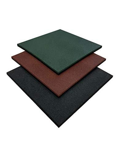 Pack loseta de Caucho para Gimnasio | Medida 50 x 50 x 4 cm | Suelo para Gimnasio | Pavimento de Caucho para Halterofilia | Loseta de Entrenamiento Profesional (80 losetas (20 m²), Negra)