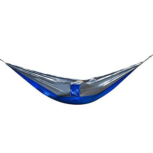 WEHOLY Hamac Swing Extérieur Double Hamac Parachute Tissu Hamac Swing Adapté pour Jardin Camping Randonnée Voyage Camping Hamac (Couleur: Bleu Royal Gris, Taille: 270x140cm)