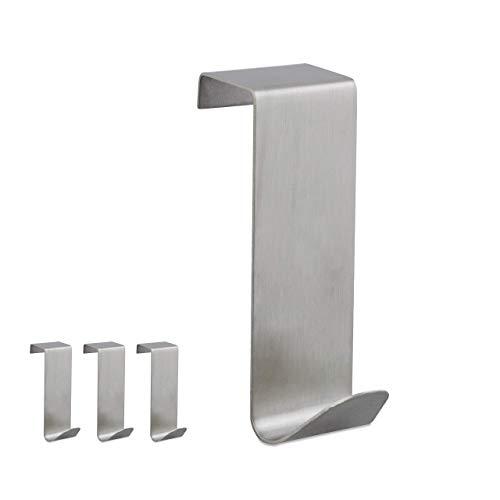 Relaxdays Pack 4 Colgadores Puerta, Acero Inoxidable, para puertas de unos 20 mm de ancho, Plateado, 7 x 2,5 x 5 cm