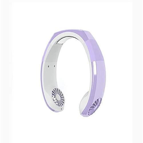 LRZLZY Mini Ventilador del refrigerador del Cuello Manos Ventilador de Deporte Cuello Ajustable Banda de Doble Ventilador Enfriador el Descanso (Color : Violet, Size : 24 * 22 * 6)