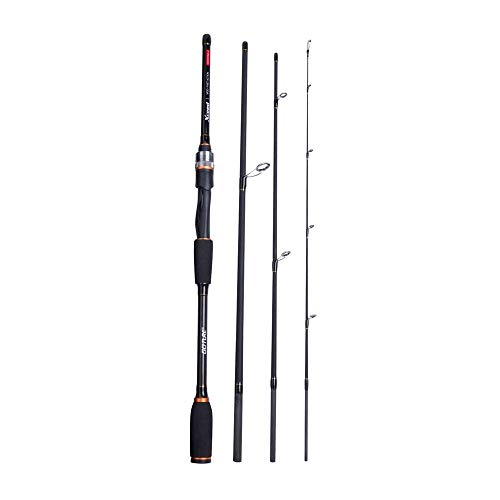 Hayandy Spinning Baitcasting Angelruten-Carbon-Faser MH/H Power 4-Abschnitt tragbare Reise-Rod-Köder-Rod + Rod Bag-Casting Rod_2.4m (Color : Spinning Rod, Size : 2.7m)