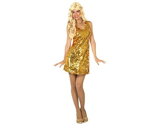 Atosa-30564 Disfraz vestido mujer disco, color dorado, XS-S (30564)