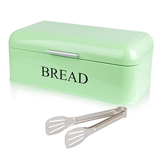 PAOPASE Large Bread Box For Kitchen Counter Dry Food Storage Container, Bread Bin, Store Bread Loaf, Baked Goods & More, Retro Vintage Design, Green
