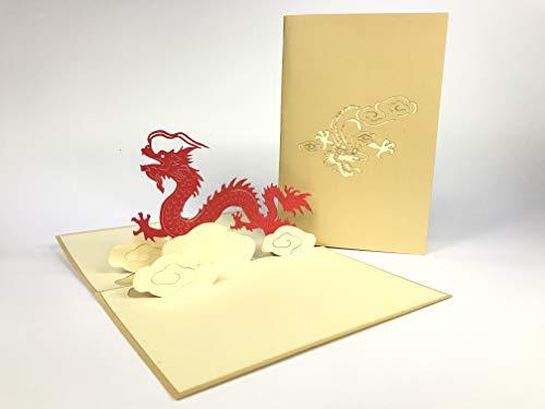 3D Kaarten Chinese Draak in De Wolken Boot Festival Groeten Kaart, 3D POP UP Kirigami Kaart, Reizen, Dank U pop-up Wenskaart, Kirigami Paper Craft