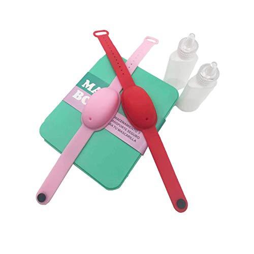 Haioo 2 Piezas de Pulseras Dispensadoras de Gel Desinfectante de Manos con Botella para Recargar + 1 Caja de Mascarilla Fabricado en España, Distintos Colores para Niños y Adultos (Color 3)