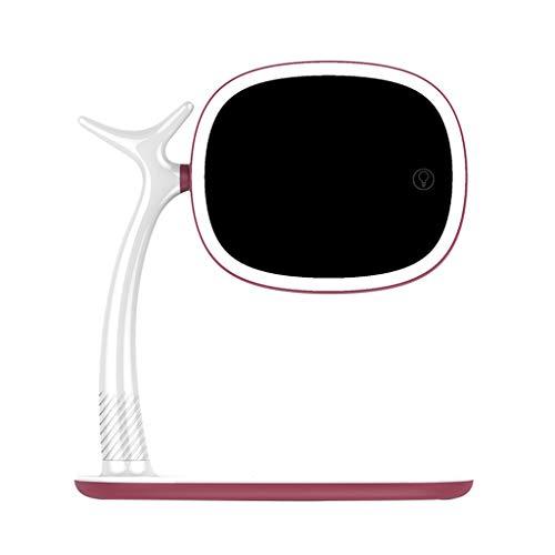 Miroir de maquillage LED Base de recharge sans fil double face avec bureau en forme de loupe avec remplissage lumineux Miroir de maquillage lumineux Xuan - worth having (Color : Wine red)