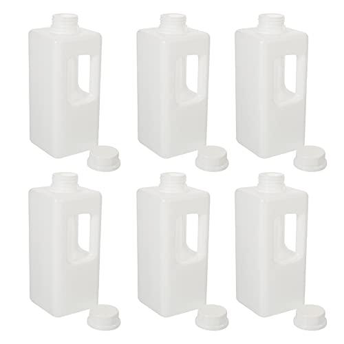 Doitool 6 Uds. Botellas de Leche de Plástico de 1000Ml Jarras de Leche Vacías con Mango de Tapa Botella de Jugo Jarras de Agua Portátiles para Deportes Al Aire Libre