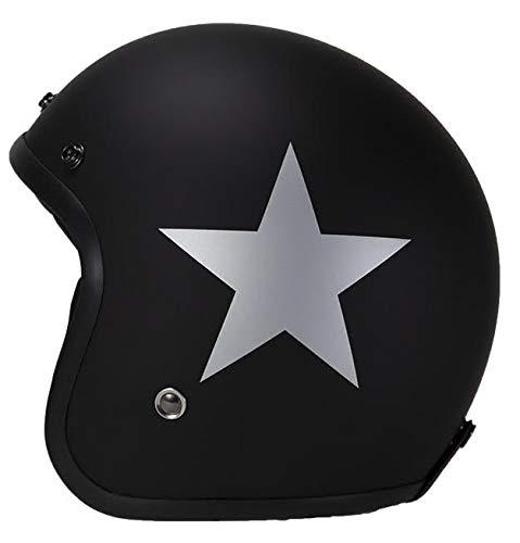 Casco moto Jet con rivetti Pendejo by iguana collezione personalizzata nero opaco con stella argento (M)