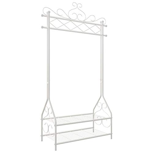SONGMICS Vintage Clothes Stand and Rack with Garment Rail and 2 metal shelves 92 x 41 x 173 cm (W x D x H) Cream HSR07W