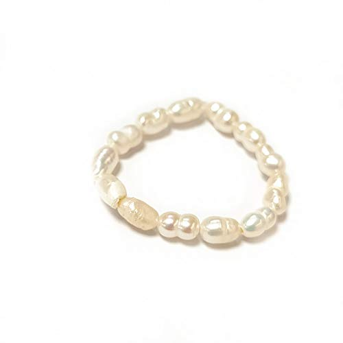 Classtic Tiny Baby Beads Band Delicate Rice Beads Stretch Ring Minimal White Beads Metal Stackable Elastic Ring for Women Female Girl Modern Jewelry Party Gift-Beads