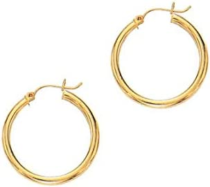 Royal Jewelz Various Sizes 14K Yellow or White Gold Shiny Round 3MM Thickness Hoop Earrings with Hinged Closure.