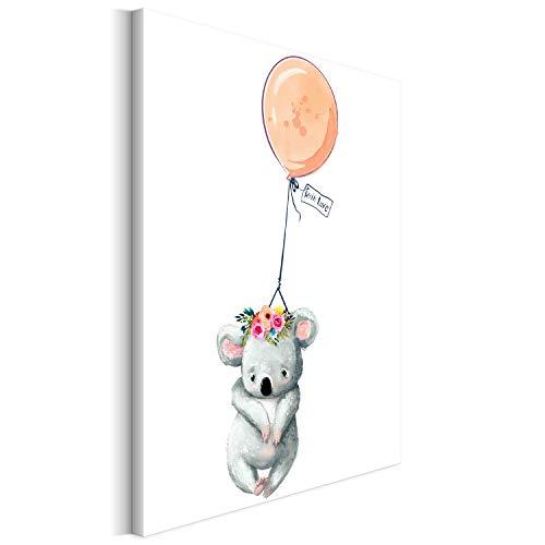 Revolio 30x40 cm Leinwandbild Wandbilder Kinderzimmer Modern Kunstdruck Design Wanddekoration Deko Bild auf Leinwand Bilder 1 Teilig - Koala Luftballon Babyzimmer orange grau