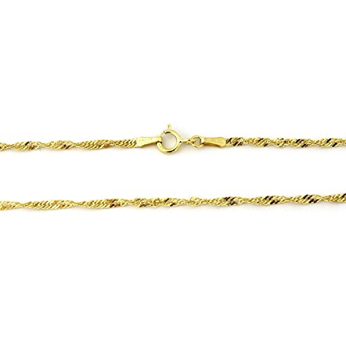 14 Karat / 585 Gold Singapur Kette Gelbgold Halbmassiv Zweiseitig Diamantiert - Breite 3 mm - Länge wählbar (45)