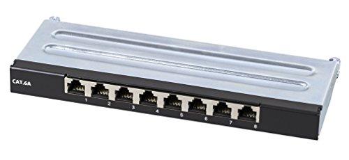 SCENetwork KAT6a CAT6a 8-portowy mini panel krosowy z metalu, czarny RAL9005, STP 500MHz 1Gbit, do montażu na ścianie i na biurku, 0,5 HE