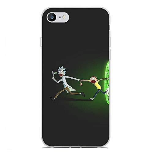 Transparent Case for Apple iPhone 6/6s Plus, Rick-Morty Cartoon Art 8 Fundas Slim Silicone Liquid Flexible Cover