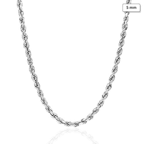 "14K Solid White Gold 5mm Diamond Cut Rope Chain Necklace 16""-30"", 20"