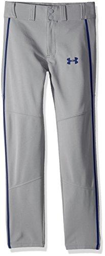 Under Armour Boys Heater Piped Baseball Pants, Baseball Gray (078)/Royal, Youth X-Large