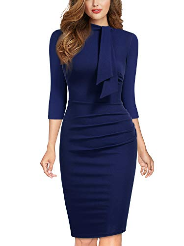 Miusol Lápiz Corbata Fiesta Oficina Vestido para Mujer, Media Manga Azul, S