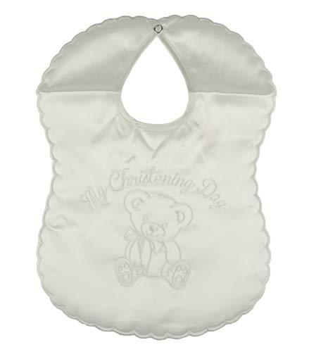 Baby Meisjes Jongens Wit Geborduurd Satijn Mijn Christening Dag Teddy Beer Zacht Speelgoed Bib Pasgeboren - 6 Maanden