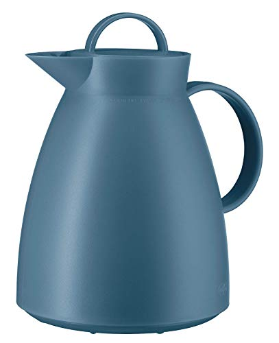 alfi Thermoskanne Dan, Teekanne Kunststoff gefrostet Blau 1,0l, Isolierkanne mit Glaseinsatz, 12 Stunden heiß, 24 Stunden kalt, große Öffnung für Teebeutel und Teefilter, BPA-Frei, 0935.060.100