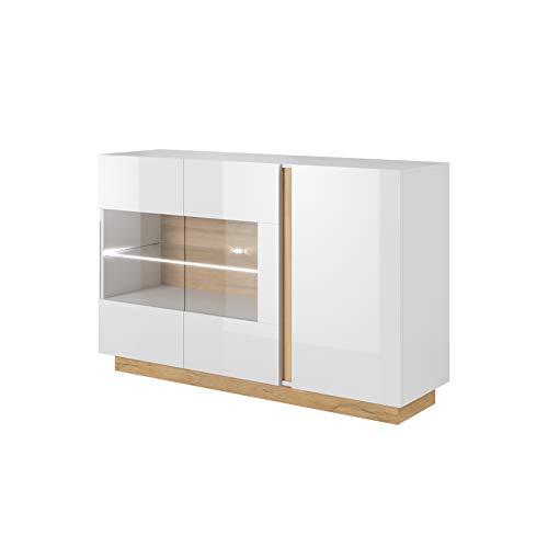 MOEBLO Moderne Kommode Schrank für Wohnzimmer Skandinavisch mit Glastüren und LED Beleuchtung - 3 Türig - Weiß Hochglanz + Eiche/Eiche + Grau- Salta E (Weiß + Eiche Grandson + Weiß Hochglanz)