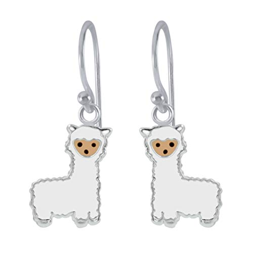 Sterling Silver Llama Alpaca Animal Dangle Earrings Gift - Extra Small